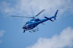 A helicopter that provided aerial coverage for 2019 race