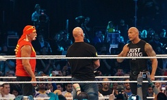 Hulk Hogan, Steve Austin and the Rock at WrestleMania XXX in April 2014