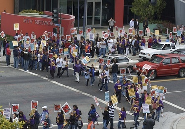 Janitorial workers exercising their right to protest in front of the MTV building in Santa Monica, California.