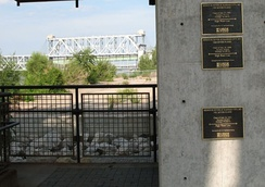 High water marks at Westport Landing on the Missouri River in Kansas City. The flood heights from top to bottom are 1993, 1844 and 1951. ASB Bridge in background