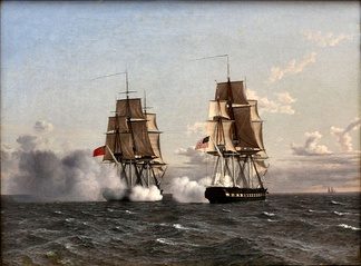 Battle between the British frigate Shannon and the American frigate Chesapeake, painted in 1836 by Christoffer Wilhelm Eckersberg and depicting the capture of USS Chesapeake.