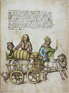 Salt-cured ox, the barrel of beer and other food from Lithuania being sent to the feast of the Council of Constance. (Rosgartenmuseum Konstanz, Hs. 1, Richental: Konzilschronik)