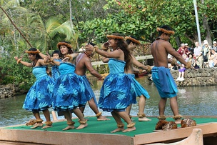 Line dancing at the Polynesian Cultural Center in Hawaii