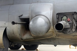 Closeup of a USAF AC-130 gunship's 40mm Bofors and 105mm Howitzer