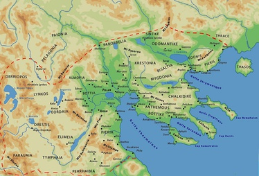 Map of the Kingdom of Macedon with Pelagonia located in the northwest districts of the kingdom.
