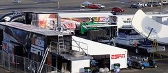 The ESPN media compound at Auto Club Speedway in 2010