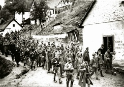 Partisans and Chetniks escorting captured Germans through Užice, autumn 1941