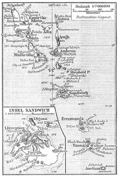 Map of the New Hebrides, 1905