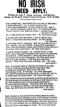 "1862 song that used the ""No Irish Need Apply"" slogan. It was copied from a similar London song.[207]"
