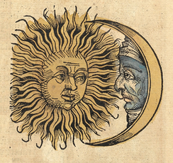 Sun and Moon with faces (1493 woodcut)