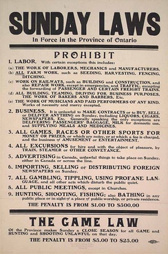 Sunday laws in Ontario, 1911