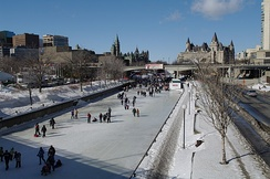 Skating on the Rideau Canal. Snow and ice is common for the region during the winter.