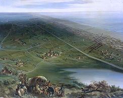 View of the Battle of Dunes from behind the Spanish linesOil painting by Siméon Fort