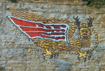 Modern rendition of a Piasa painted on a cliff in Alton, Illinois, based partly on 19th century sketches