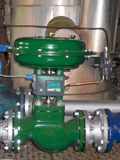"Globe control valve with pneumatic actuator and ""positioner"". This is a servo  which ensures the valve opens to the desired position regardless of friction"