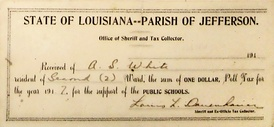 Receipt for payment of poll tax, Jefferson Parish, Louisiana, 1917 (equivalent to $20 in 2019)