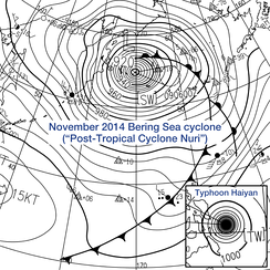 Comparison between extratropical and tropical cyclones on surface analysis