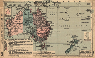 Historical map of Australia and New Zealand 1788-1911