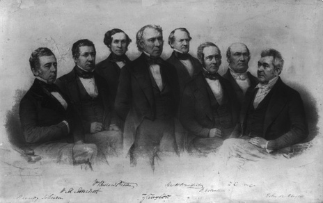 President Zachary Taylor standing in front of his Cabinet, seated from left:Reverdy Johnson, Attorney General; William M. Meredith, Secretary of the Treasury; William B. Preston, Secretary of the Navy; George W. Crawford, Secretary of War; Jacob Collamer, Postmaster General; Thomas Ewing, Secretary of the Interior; and John M. Clayton, Secretary of State. Lithograph by Francis D'Avignon, published by Mathew Brady, 1849.