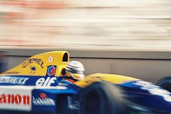 Patrese in the Williams FW14B at the Monaco Grand Prix.