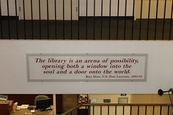 Poet Laureate Rita Dove's definition of a library at entrance to the Maine State Library in Augusta, Maine, United States