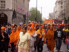 Sikhs in London protesting against Indian government actions