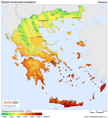 Solar-power generation potential in Greece