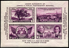 United States Souvenir sheet for 1936 TIPEX show by the U.S. Postal Service[10]