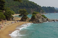 Costa Brava beach. Tourism plays an important role in the Catalan economy.