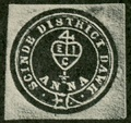 HEIC Merchant's mark on a Blue Scinde Dawk postage stamp (1852)