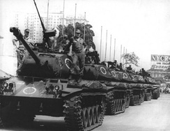 A convoy of tanks along the streets of the city in 1968 during the military rule. At time, Rio de Janeiro was a city-state, capital of Guanabara