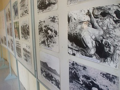 Photo images of the Ba Chúc massacre at a Vietnamese museum, as the massacre was one of the events that prompted the 1978 Vietnamese invasion of Kampuchea