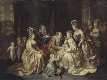 The Royal Family of France, 1781. From left to right: The Dukes of Berry and Angoulême with their sister Mademoiselle Sophie, the Countess and Count of Artois, the King and Queen holding the Dauphin with his older sister Madame Royale holding his train, Madame Élisabeth, the Count and Countess of Provence.
