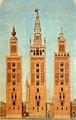 The Giralda at its various stages of construction: Almohad (left), Medieval Christian (right), and Renaissance (center).