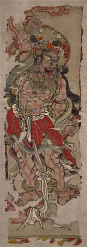 Vajrapāni at Mogao Caves's Hidden Library, Dunhuang, China. Power and anger personified. Late 9th century, Tang dynasty. Ink and colors on silk.