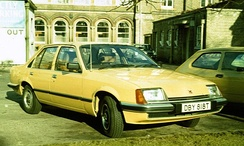 "For UK consumers, the Rekord E1 based Vauxhall Carlton was identified by a ""droop snoot"" bonnet/hood. The Rüsselsheim plant produced both right hand drive Rekords and Carltons which, until 1981, competed with each other in the United Kingdom."