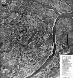 German map of Gorky, indicating targets for bombing Translation of labels on the map A — Gorky-Sormovo Airfield B — Gorky-Fedyakovo Airfield С — Gorky-Avtozavod Airfield D — Fuel warehouse E — Grocery warehouse F — Railway platform G — Main Railway Station H — The railway bridge across the Volga I — Oksky (Kanavinsky) Bridge J — Overpass K — Mills and barns L — Oil Refinery M — Aircraft Building Plant N — Defense Plant O — Automobile Plant P — Diesel Plant Q — Rolling workshop R — Machine-Tool Plant S — Shipyard T — Radiotelephone Plant The Fair