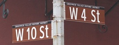 Newer lowercase street sign at West 4th Street and West 10th Street