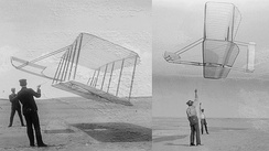 A big improvement At left, 1901 glider flown by Wilbur (left) and Orville. At right, 1902 glider flown by Wilbur (right) and Dan Tate, their helper. Dramatic improvement in performance is apparent. The 1901 glider flies at a steep angle of attack due to poor lift and high drag. In contrast, the 1902 glider flies at a much flatter angle and holds up its tether lines almost vertically, clearly demonstrating a much better lift-to-drag ratio.[61]