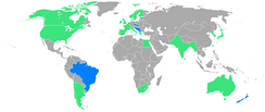 Participants in the 1920 games, with the nations in blue participating for the first time.