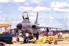 36th Tactical Fighter Squadron F-105D having MK-82 500 pound bombs being loaded prior to a mission, Korat, 1964