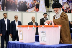 Ali Khamenei voting in the 2017 presidential election