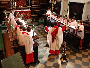 A parish church choir at All Saints' Church, Northampton singing Evensong