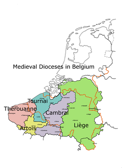 The diocese of Tournai may be based on the territory of the Menapii, although it must have stretched further, including Cassel during Roman times, and even stretching to the Waal river in the time of Caesar.