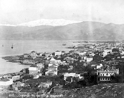 View of Beirut with snow-capped Mount Sannine in the background – 19th century