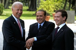 Berlusconi, US vice-president Joe Biden and Russia's president Dmitry Medvedev meeting in Italy in June 2011