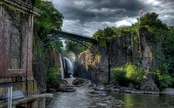 The Great Falls of the Passaic River in Paterson, Passaic County, dedicated as a U.S. National Park in November 2011, incorporates one of the largest waterfalls in the eastern United States.[54]