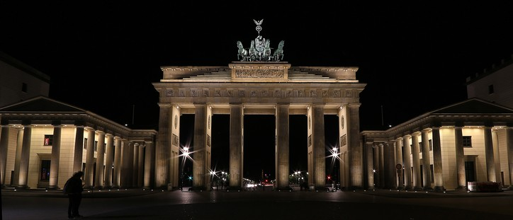 The Brandenburg Gate at midnight
