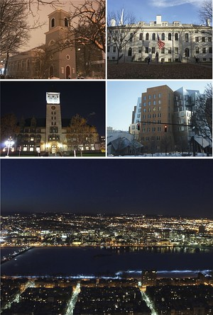 Clockwise from top left: Christ Church, University Hall at Harvard University, Ray and Maria Stata Center at the Massachusetts Institute of Technology, the Cambridge skyline and Charles River at night, and Cambridge City Hall