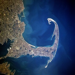 Cape Cod and Cape Cod Bay from space, April 1997.